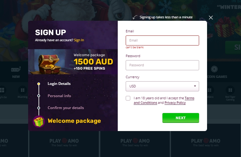PlayAmo registration