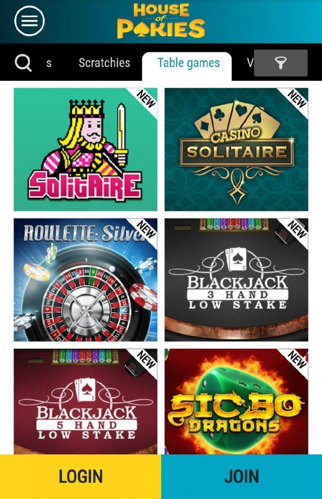 House of Pokies app - table games