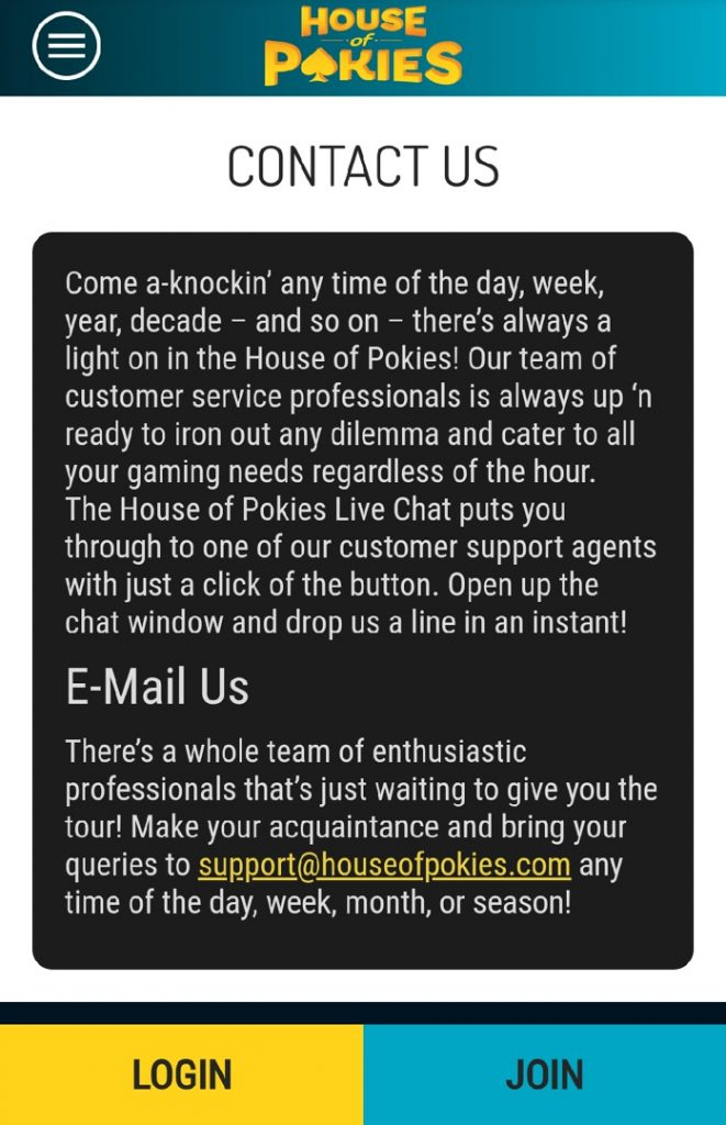 House of Pokies contact us