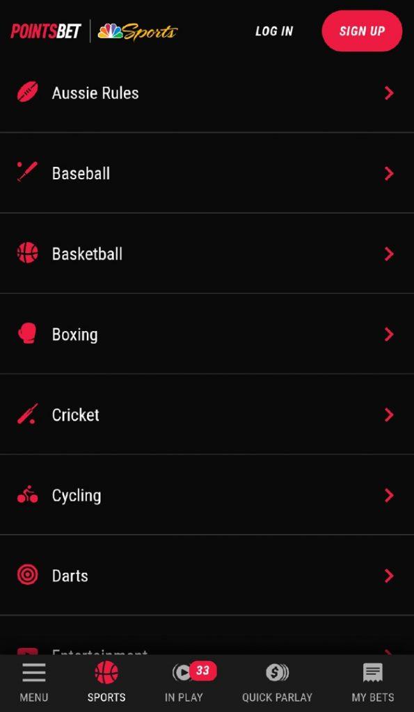 Pointsbet app sport line