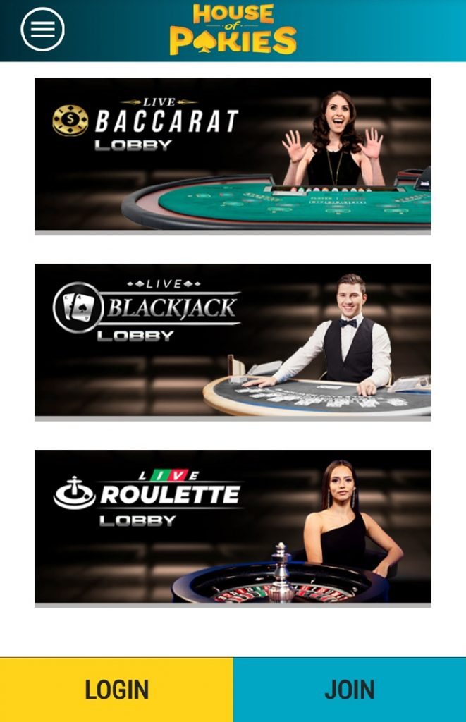 House of Pokies mobile live casino