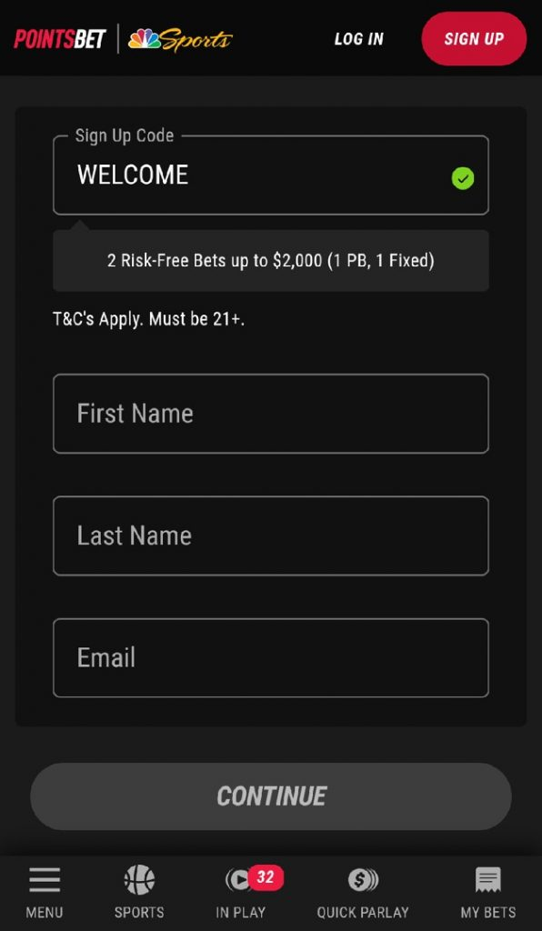 Pointsbet mobile registration