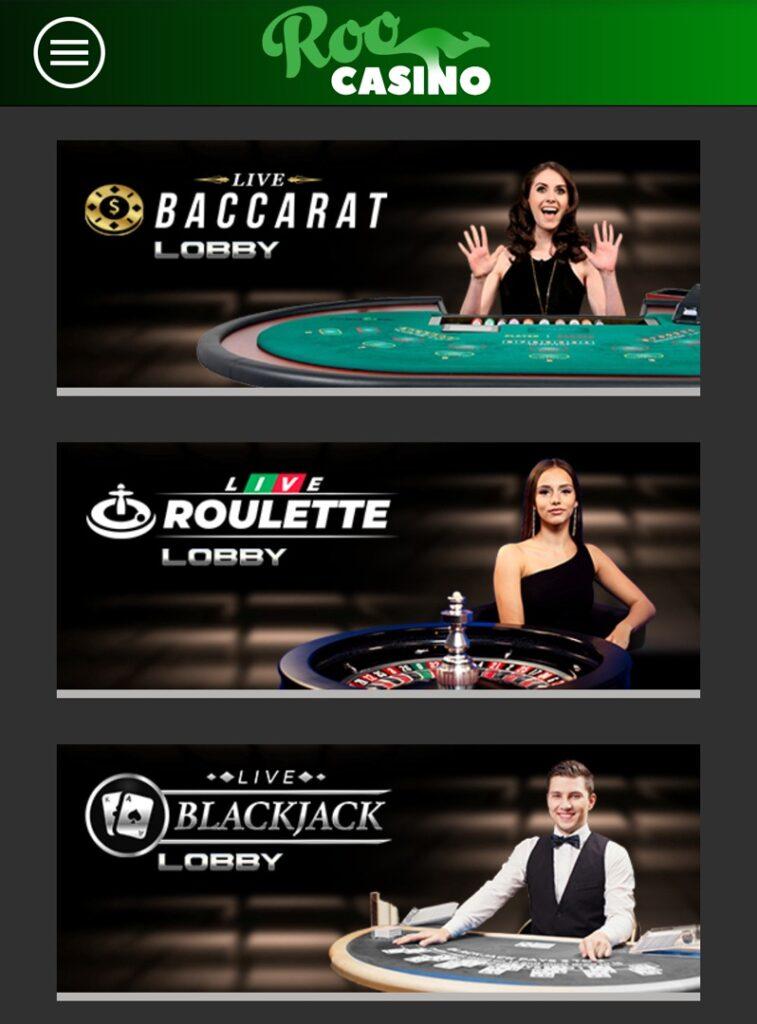 Roo Casino - live