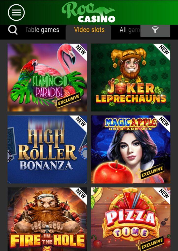 Roo Casino mobile slots