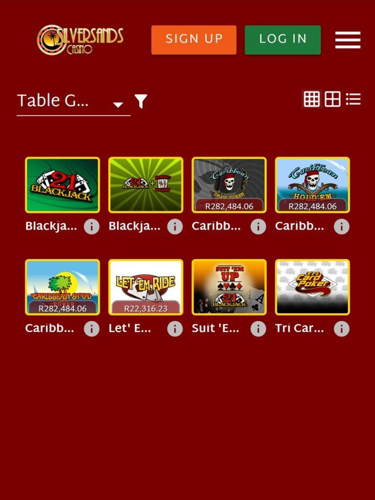 Silversanda table games