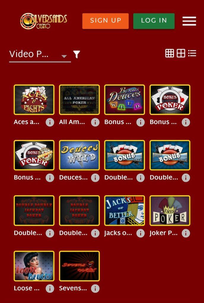 Silve Sands Casino - video poker