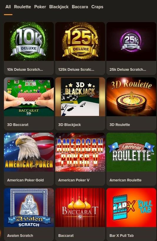 Gibson Casino Mobile board games