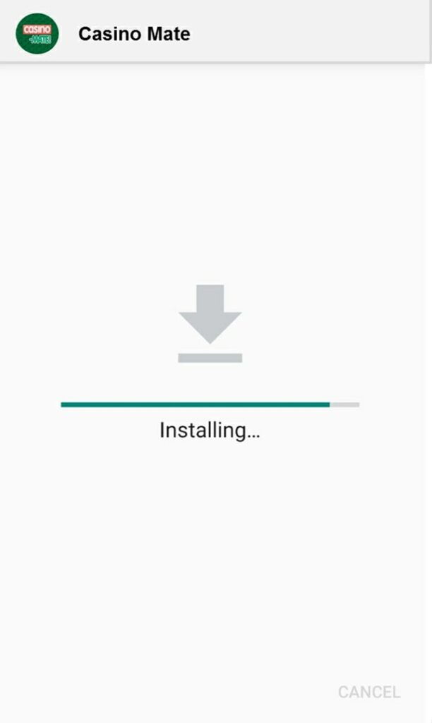Casino Mate mobile app installing