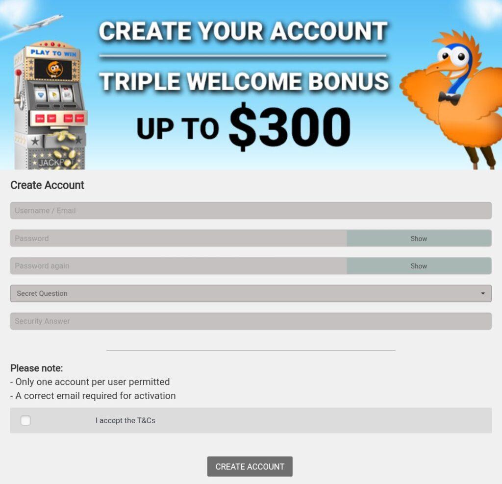 Emu Casino registration