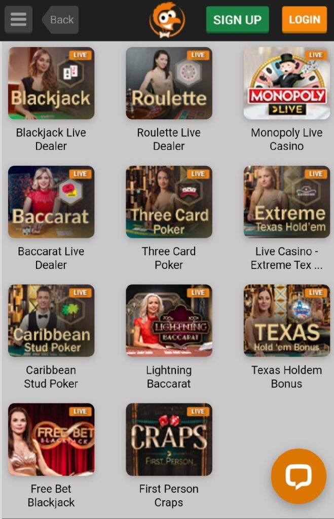 Emu Live Casino