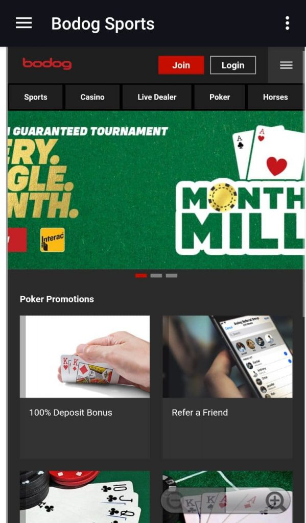 Bodog Mobile poker