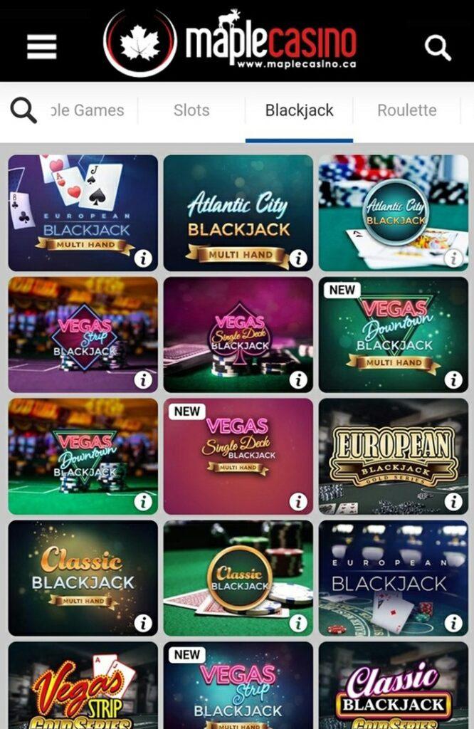 Maple Casino Mobile Blackjack