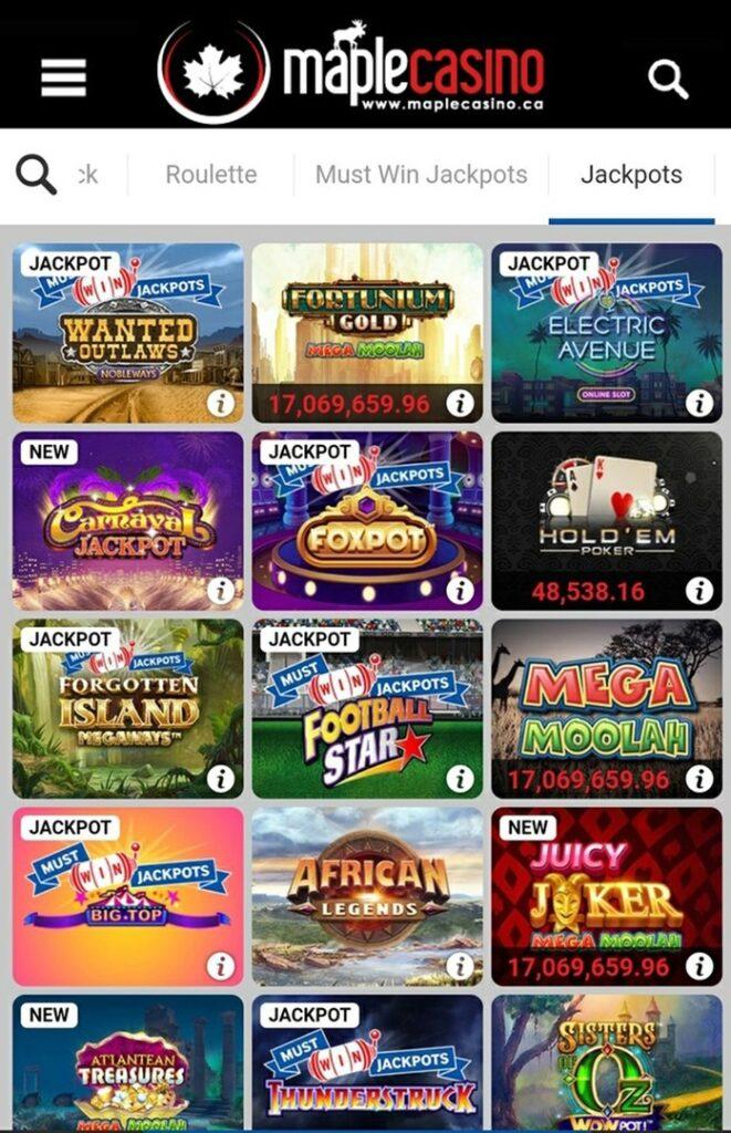 Jackpots in Maple Casino