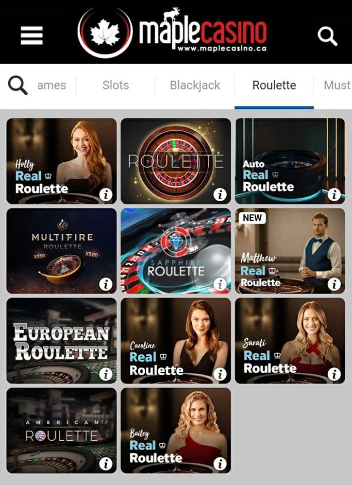 Maple Casino Mobile Roulette