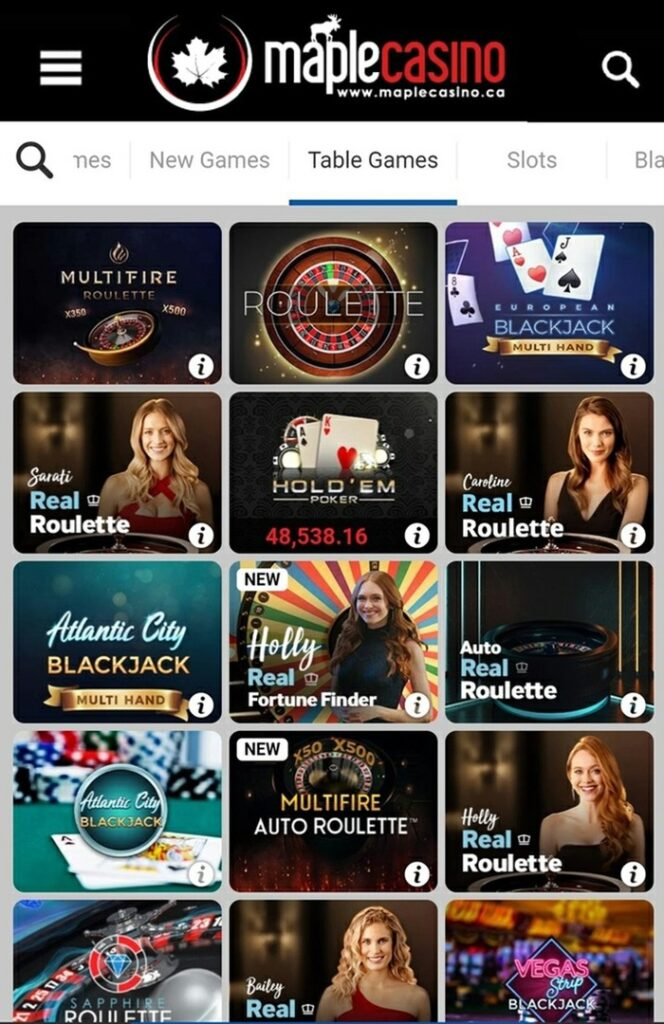 Board Games in Maple Casino