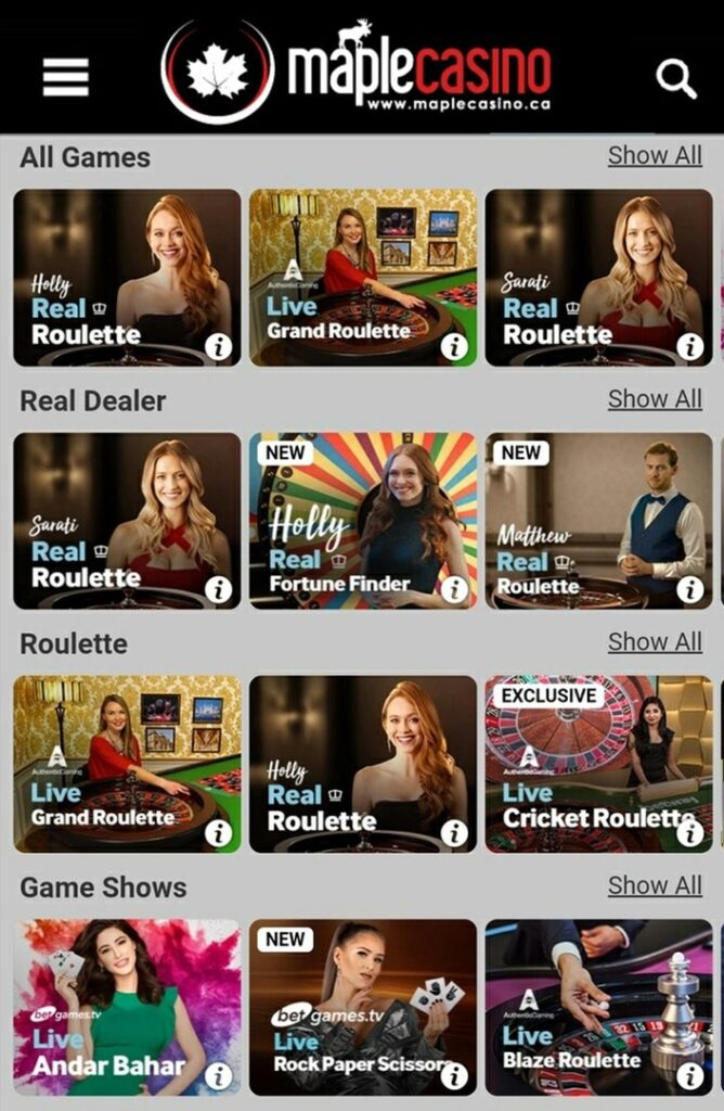Maple Live Casino Online