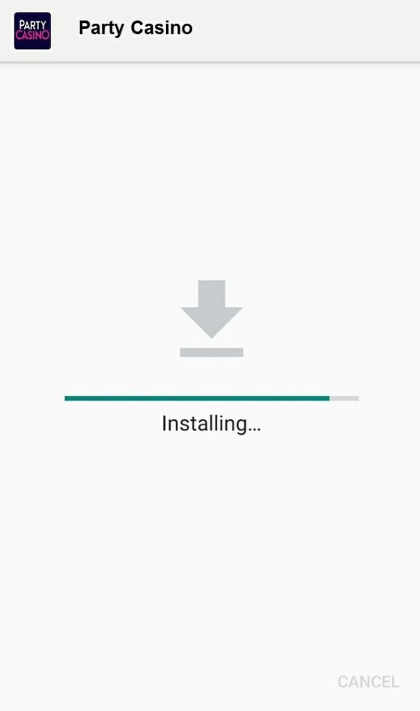 Party Casino installing app