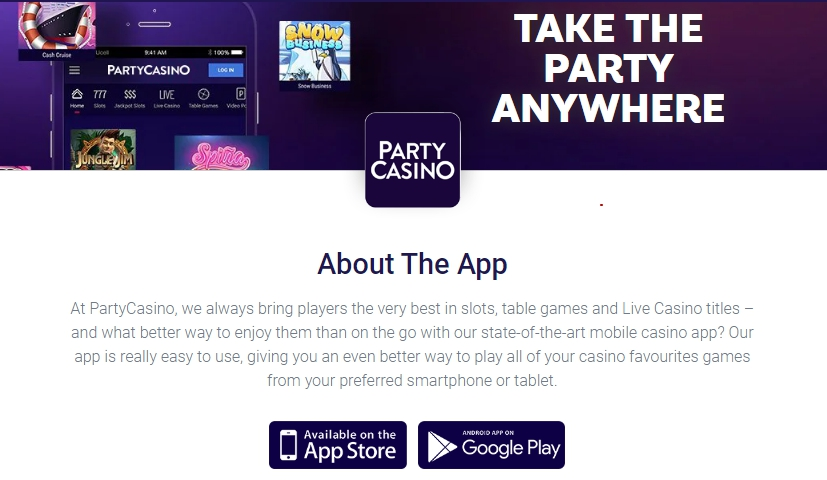 Party Casino download mobile app