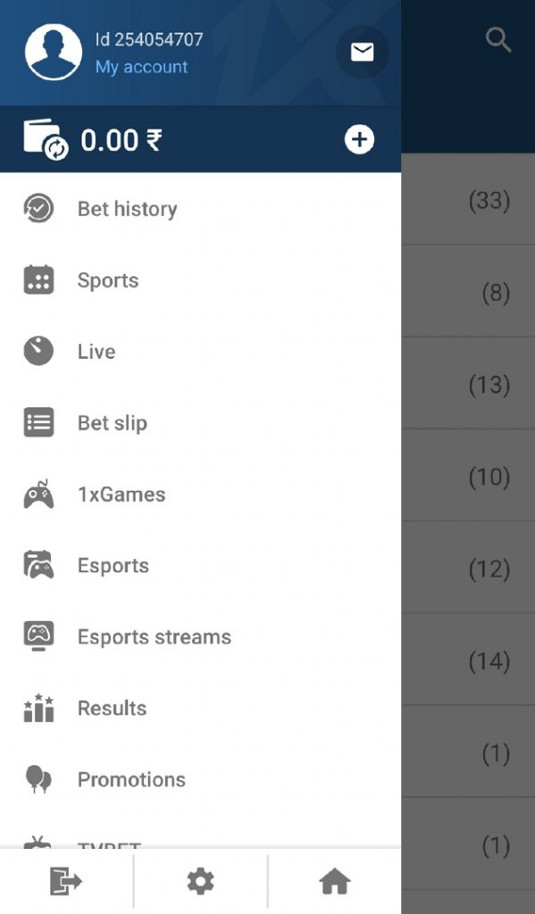 1xbet app personal account