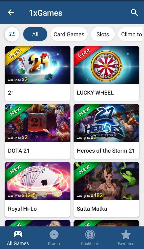 1xbet app casino games