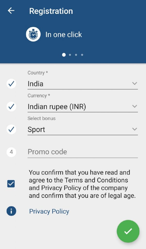 1xbet app registration in one click