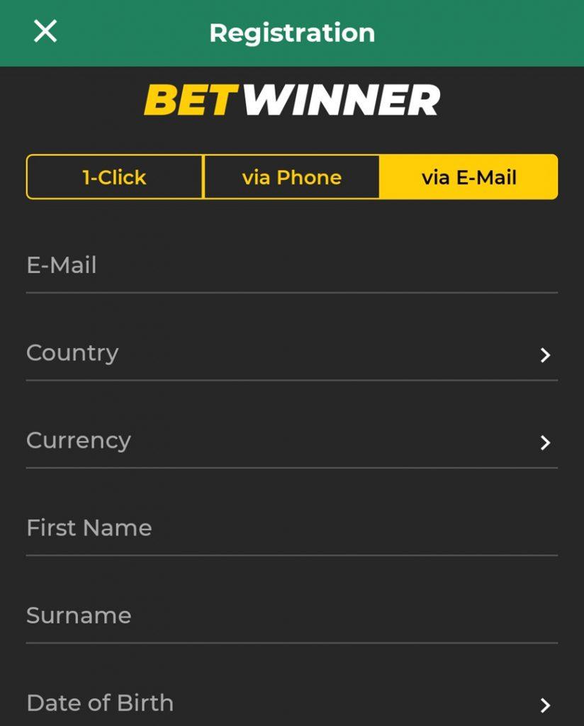 Betwinner registration via e-mail