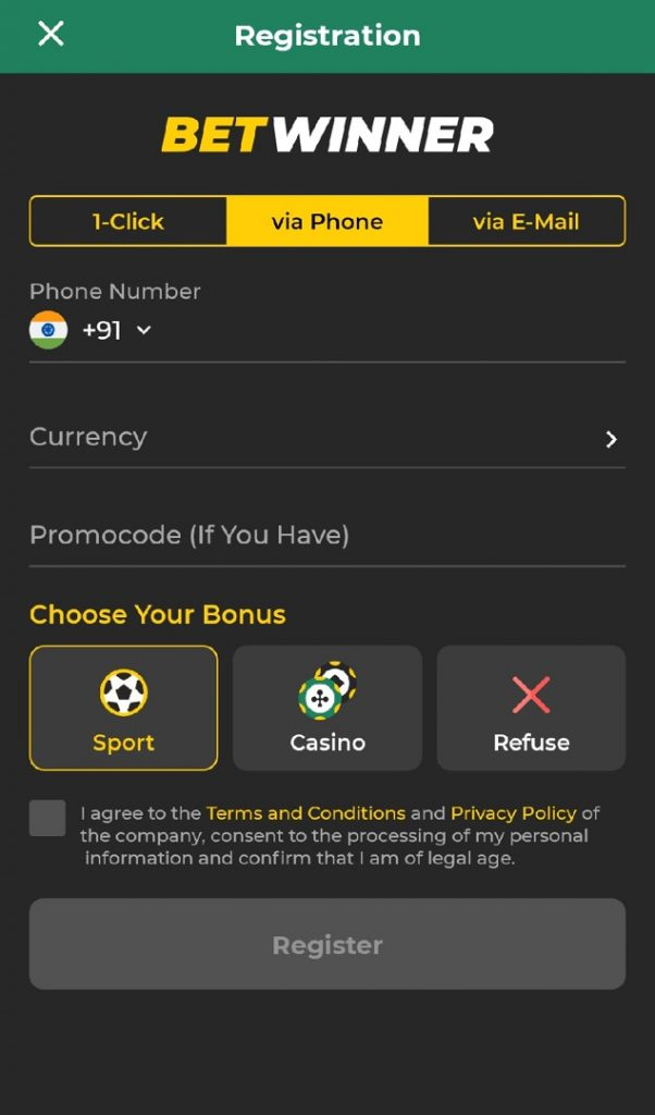 betwinner registration via phone