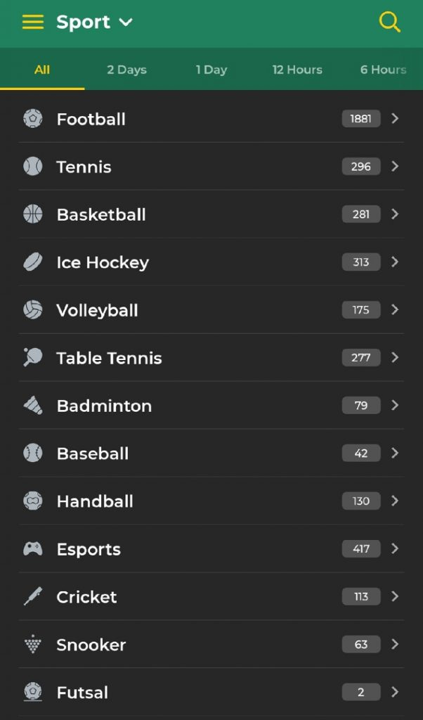 betwinner sport section
