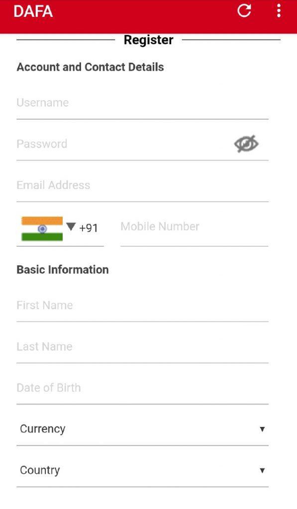Dafabet app - registration