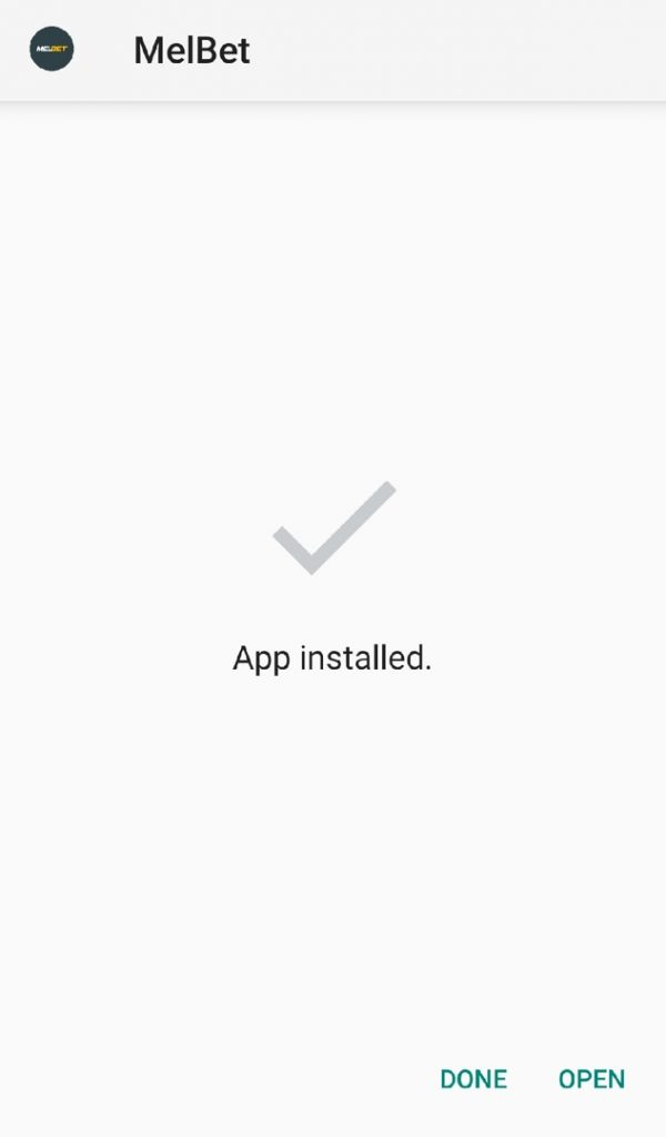 Melbet mobile app installed