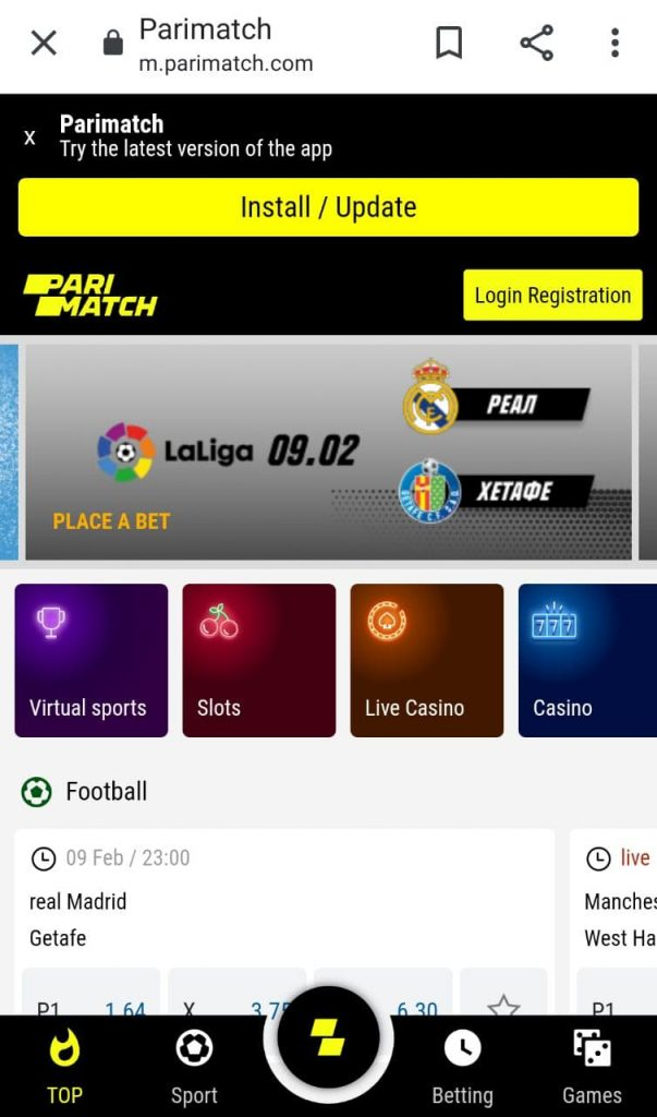 Parimatch apk app download