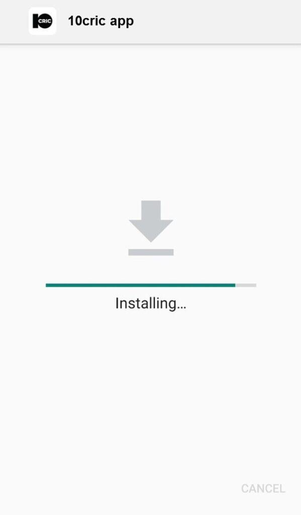 10Cric Mobile app installing