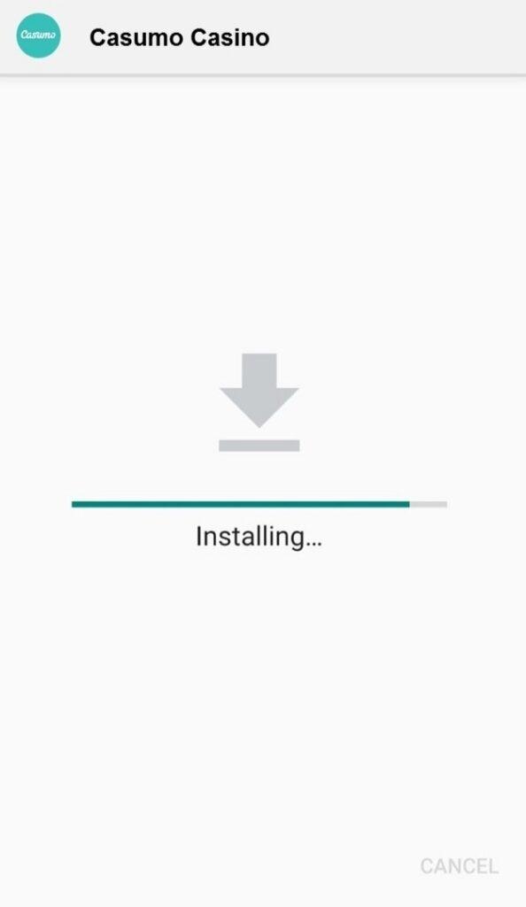Casumo Casino app installing
