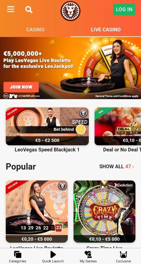 LeoVegas live casino