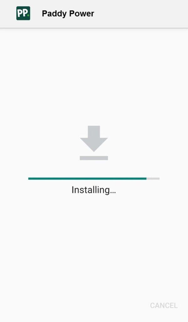 Paddy Power app installing