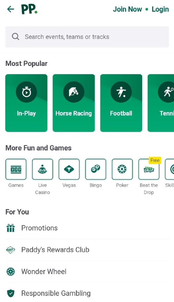 Paddy Power app android