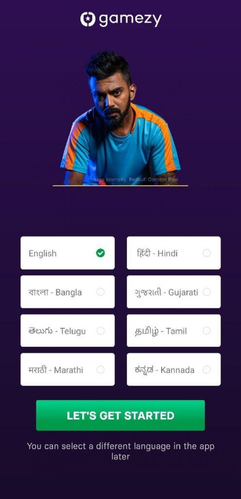 Choose language in mobile app