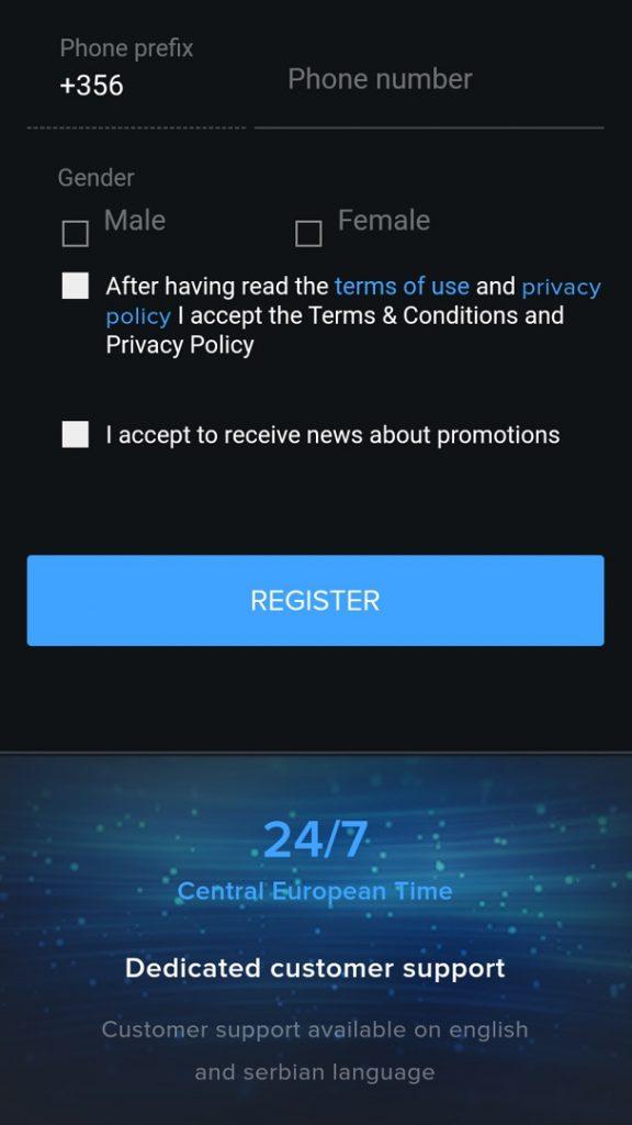 mozzartbet register in app