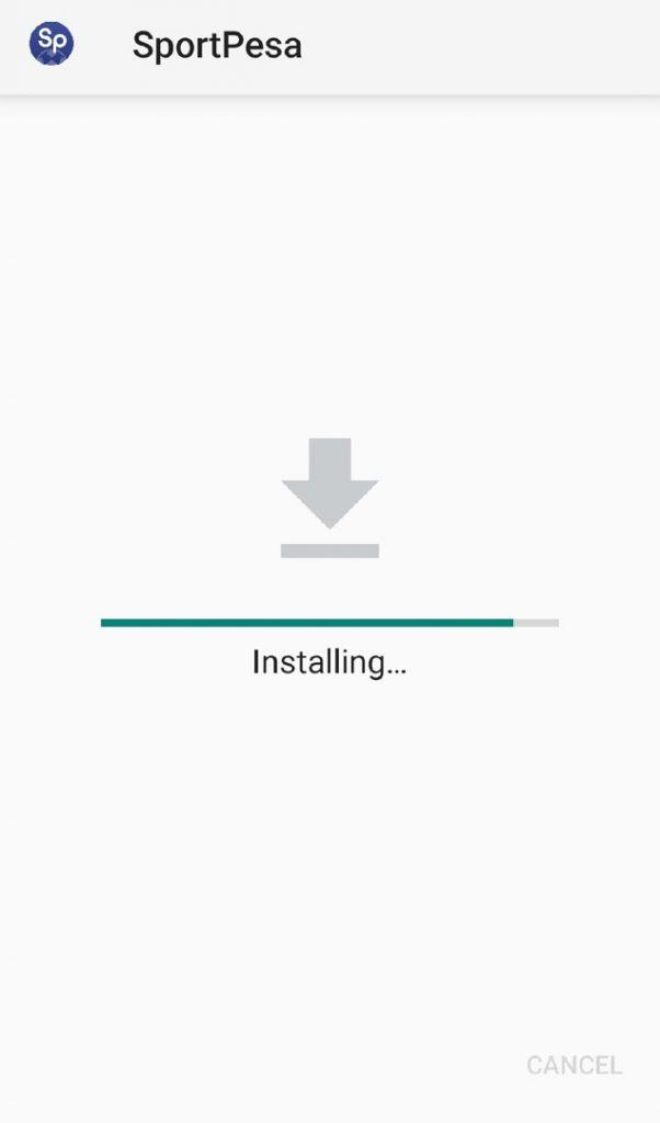 Sportpesa app installing
