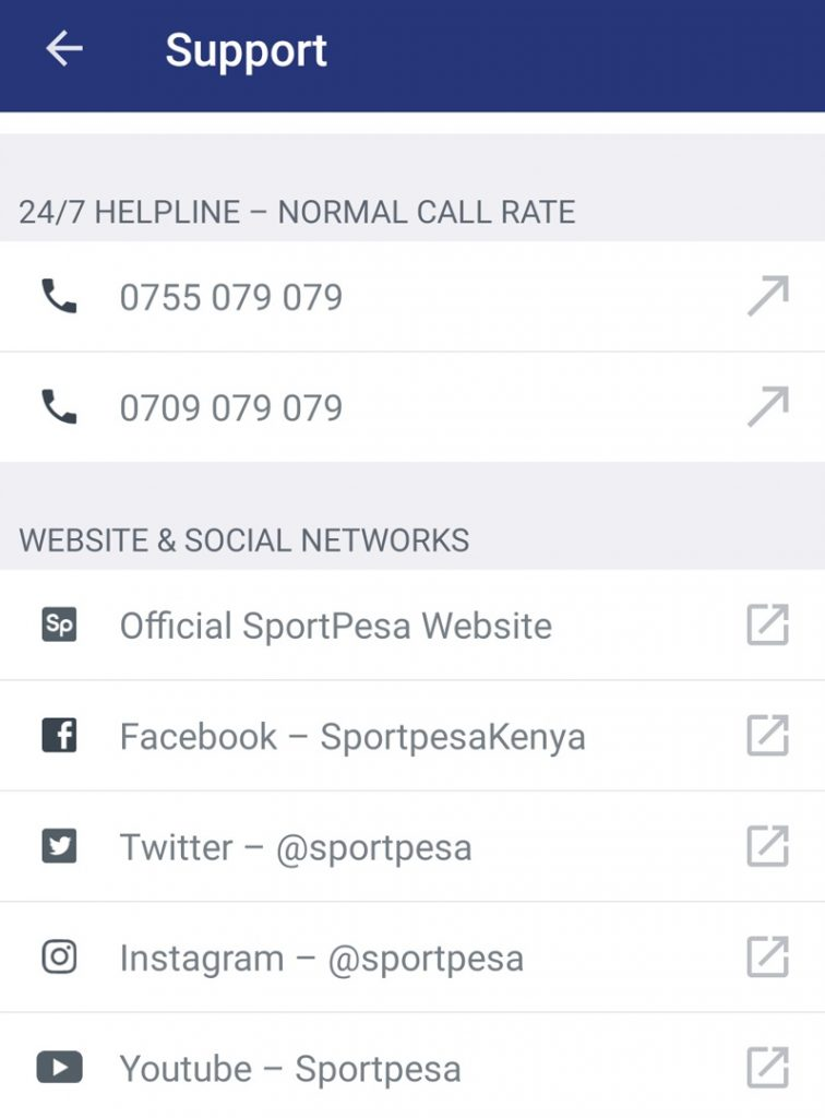 Sportpesa support contact
