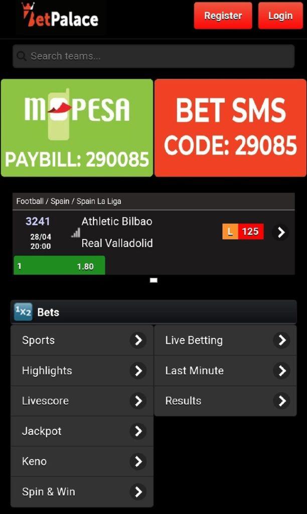 BetPalace Kenya mobile app