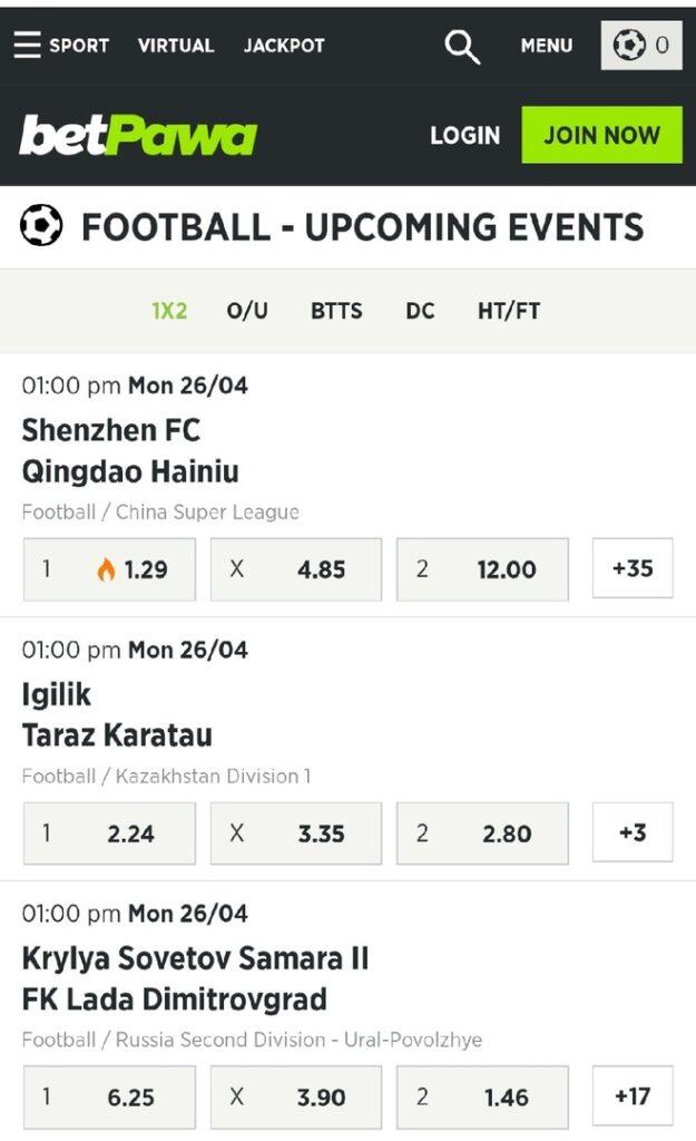 betPawa football betting