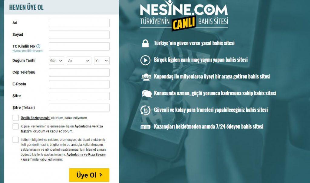 Nesine Web Sitesine Kayıt