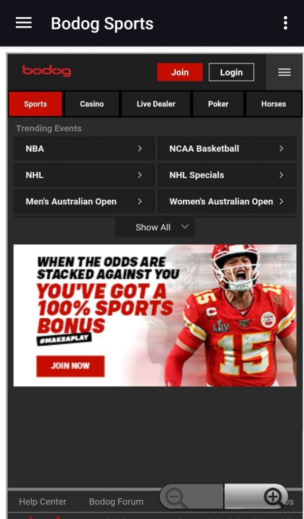 Bodog line and odds